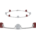 pave ball diamond bracelet with ruby in FDBRC8432GRUDR NL WG