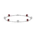 pave ball diamond bracelet with ruby in FDBRC8432GRUDRANGLE2 NL WG