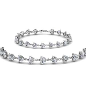 Heart Diamond Interlinked Bracelet