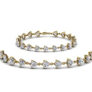 Heart Diamond Interlocked Bracelet