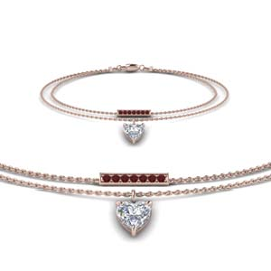 Ruby With Double Chain Bracelet