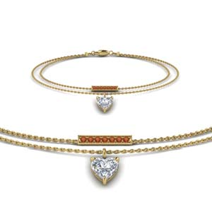 Heart Diamond Drop Bracelet