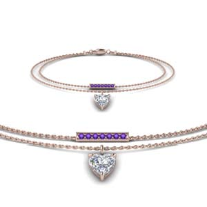 Heart Drop Purple Topaz Bracelet