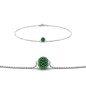 Pave Ball Emerald Chain Bracelet