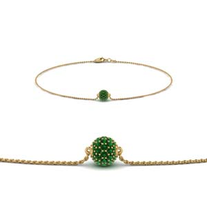 pave ball chain bracelet with emerald in FDBRC8471GEMGR NL YG