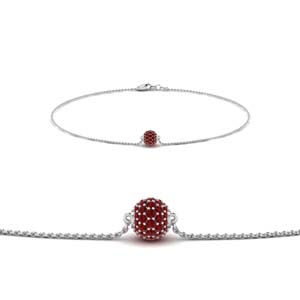 Pave Ball Ruby Chain Bracelet