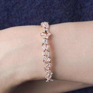Cluster Baguette Diamond Bracelet Bangle