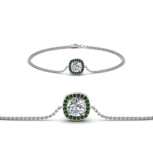 Emerald Single Halo Bracelet