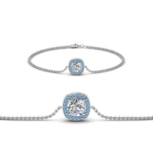 Beautiful Platinum  Bracelet With Topaz