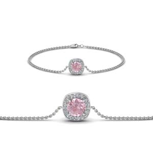 Halo Morganite Chain Bracelet