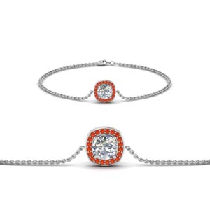 White Gold Orange Topaz Bracelet