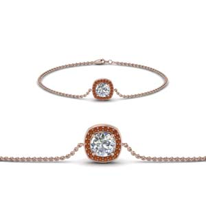 Orange Sapphire Bracelet For Women