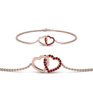 Interlock Heart Ruby Bracelet