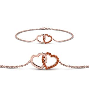 Orange Sapphire Interlocked Bracelet
