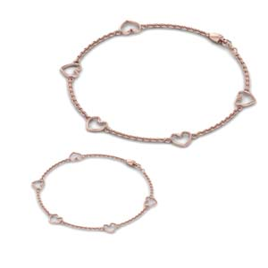 Heart Chain Bracelet For Mother & Daughter