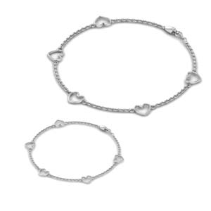 14K White Gold Mother Daughter Bracelet