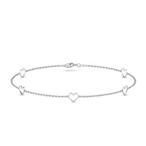 Open Heart White Gold Bracelet