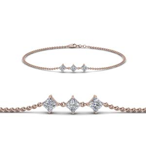 14K Rose Gold 3 Stone Diamond Bracelet