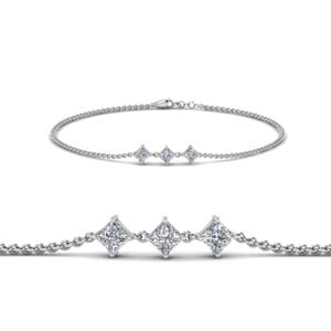 Platinum Princess Cut Bracelet