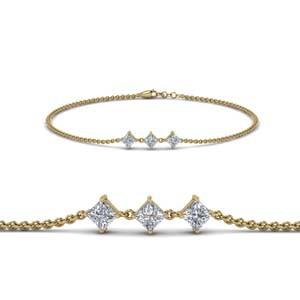 Princess Cut Three Stone Bracelet