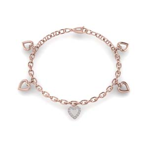 14K Rose Gold Heart Charm Bracelet