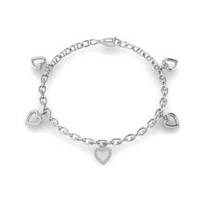 Platinum Heart Charm Diamond Bracelet