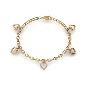 14K Yellow Gold Charm Diamond Bracelet