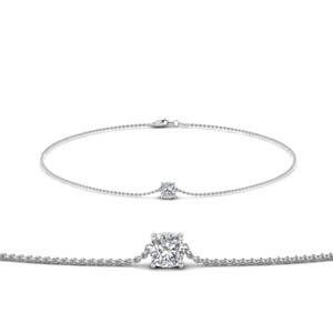 Cushion Diamond Bracelet 14K White Gold