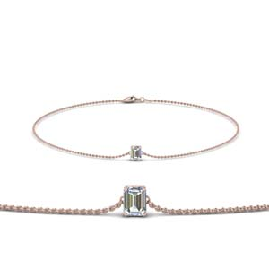 14K Rose Gold Chain Diamond Bracelet