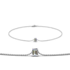 Emerald Diamond Chain Bracelet 18K White Gold