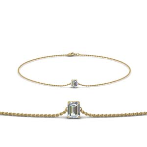 14K Yellow Gold Emerald Cut Diamond Bracelet