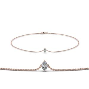 18K Rose Gold Single Diamond Bracelet