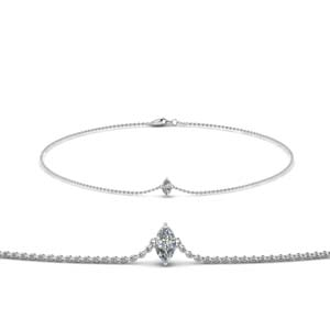 18K White Gold Diamond Chain Bracelet