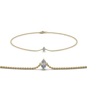 18K Yellow Gold Marquise Diamond Bracelet