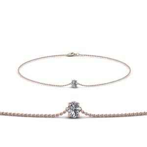 Single Oval Diamond Chain Bracelet