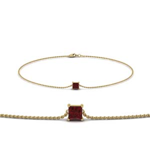 Ruby Princess Cut Chain Bracelet
