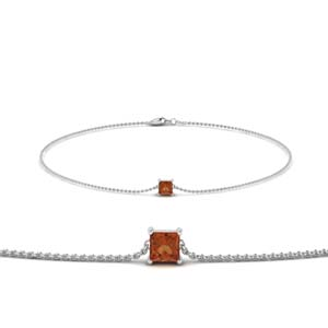 princess cut orange sapphire chain bracelet in FDBRC8656PRGSAOR NL WG