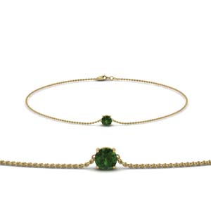 Emerald Yellow Gold Chain Bracelet