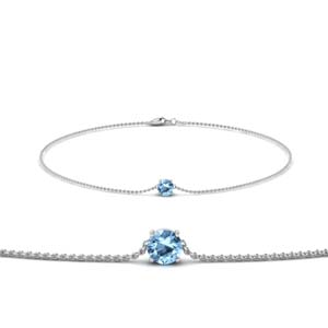 Blue Topaz White Gold Chain Bracelet
