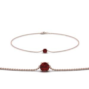 Round Cut Ruby Chain Bracelet