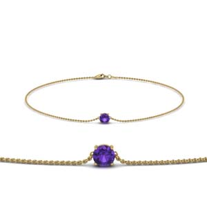 Round Cut Purple Topaz Bracelet