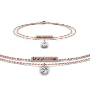14K Rose Gold Personalized Diamond Bracelet