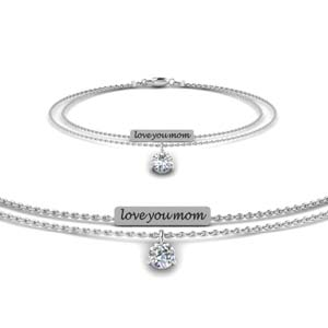 White Gold Mom Diamond Bracelet
