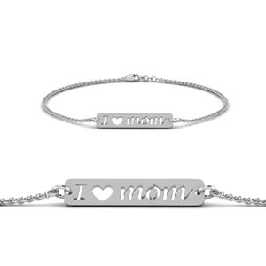 White Gold Mom Engraved Bracelet