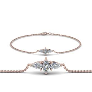 3 Stone Marquise Bracelet For Mom