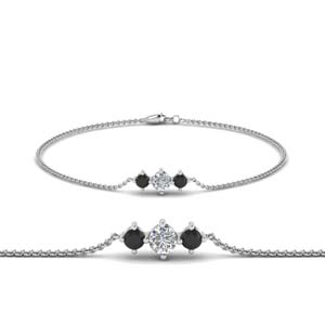 3 stone bracelet for mothers with black diamond in FDBRC8693GBLACKMD NL WG