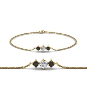 Black Diamond 3 Stone Bracelet For Mothers
