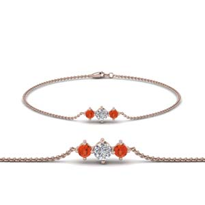 Rose Gold Orange Topaz Bracelet