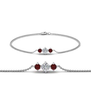 Ruby 3 Stone Diamond Bracelet