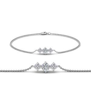 3 Stone Diamond Chain Bracelet